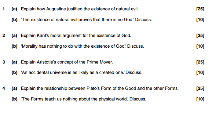 Philosophy of Religion Exam Questions